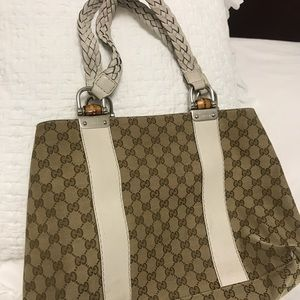 🎉HP🎉 Auth Gucci Bamboo Bar GG Canvas Tote
